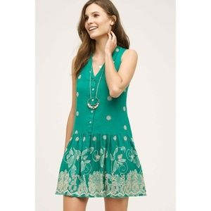 Anthro Maeve Pippa Dress XS Drop Waist Embroidered